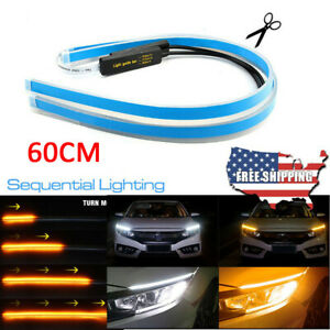 Flexible Car Led Headlight Strip Daytime Running Sequential Turn Signal Lamp Us