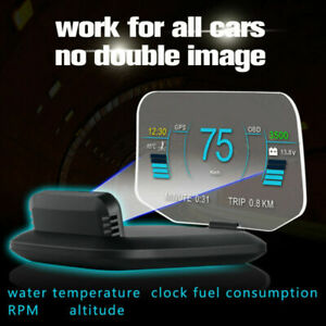 Hud Head Up Display Car Gps Dual System Speedometer Projector Mileage Diagnostic