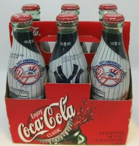 New York Yankees Coca Cola 100th Anniversary Glass Wrapped Bottle - 6 Pack