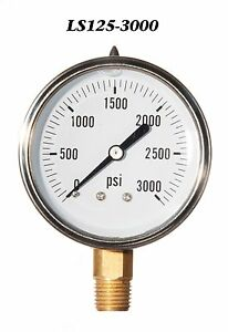 New Hydraulic Liquid Filled Pressure Gauge 0 3000 Psi 2 5 Face 1 4 Lm