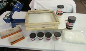 Complete Set 1 Color Silk Screen Printing Press Machine Everything To Start Now