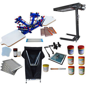 Newest Silk Screen Printing Kit 4 Color Press With Exposure Unit flash Dryer Usa