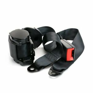 1pc 3 Point Harness Adjustable Safety Seat Belt Lap Strap Black Fits For Benz