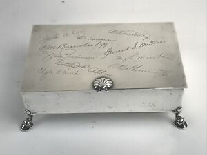 Vtg Tiffany Co Sterling Silver Lidded Lined Trinket Box W Mono Anaconda Wire