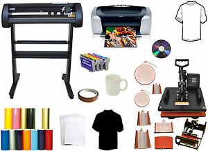 8in1 Combo Heat Press 28 500g Force Laser Vinyl Plotter Cutter Printer Bundle