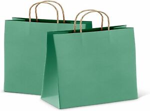 25 Kraft Paper Shopping Bags Grocery Bags 16x6x12 Large Size Teal Retail Bags