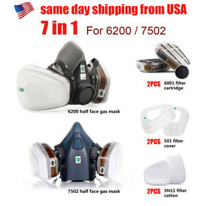7 17 In 1 Half Face Mask Suit For 6200 Gas Spray Painting Protection Respirator