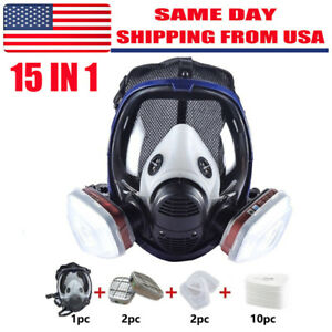 15 In 1 Gas Mask Respirator Set For 6800 Facepiece Full Face For Spray Painting