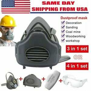 Safety Gas Mask Respirator Half Face Protect F Painting Spray W safety Glasses