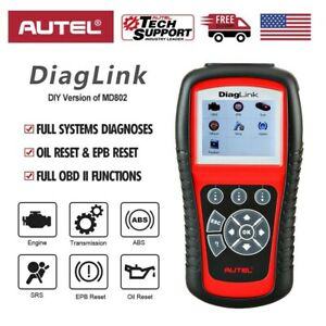 Autel Diaglink Obd2 Abs Srs Car Diagnostic Scanner Code Reader All Systems Md802