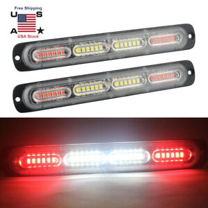 4 2pcs 10 Led Strobe Lights Emergency Flashing Warning Beacon Red White 12v 24v