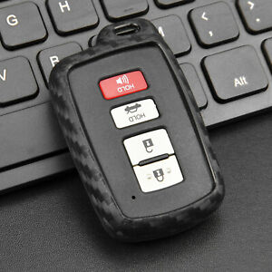 Silicone Carbon Fiber Car Smart Key Case Cover For Toyota Rav4 Camry Corolla