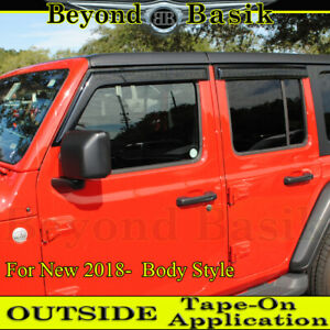 For 2018 2019 2020 2021 Jeep Wrangler Jl 4dr Smoke Door Vent Visors