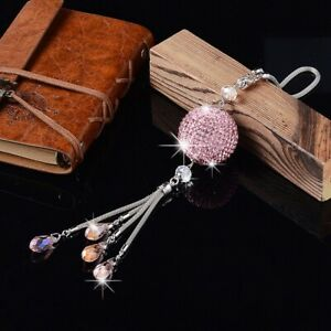 Pink Crystal Disco Ball Charm Hanging Ornament For Car Rear View Mirror Pendant