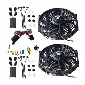 2x 12 Electric Cooling Fan Push in Radiator Fin Probe Thermostat Kit New