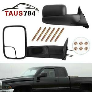 Left Right Side Manual Tow Mirrors For 94 01 Dodge Ram 1500 94 02 Ram 2500 3500