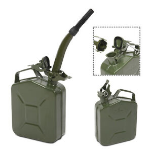 Jerry Can Metal Gas Tank Emergency Backup Gasoline Container W Spout 1 25 Gal