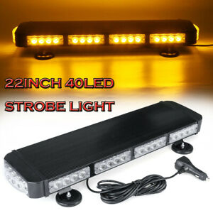 22 40led Amber Strobe Light Bar 120w Rooftop Emergency Warn Flash Lamp Magnetic