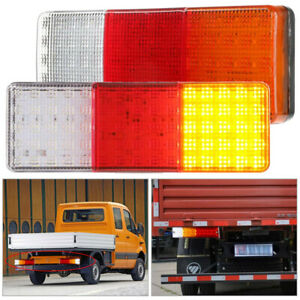 75led Trailer Truck Tail Light Brake Stop Indicator Reverse Lamp Amber white red