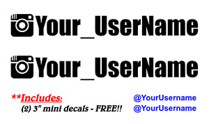 2 Two 9 Custom Ig Username Personalized Instagram Vinyl Decal Sticker