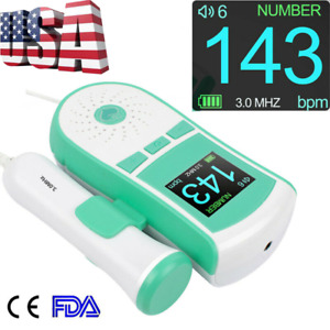 Usa Fetal Doppler 3mhz Probe Baby Heart Rate Monitor Color Lcd Free Gel Fda