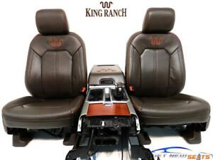Ford F 150 F150 King Ranch Brown Leather Front Seats Console 2015 2020