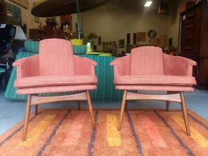 Pair Of Adrian Pearsall Style His And Hers Lounge Chairs Walnut Base Recovered