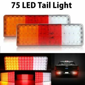 2pcs 75 Led Tail Light Car Truck Trailer Stop Rear Reverse Indicator Lamp Light