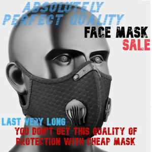 Cycling Face Mask With Active Carbon Filter Breathing Valves Reusable