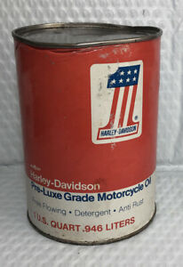 Vintage Harley Davidson Pre-Luxe Motorcycle Oil 1 Quart Can NOS Full!