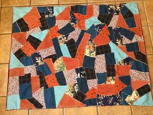 Vintage Crazy Quilt Throw Lap Blanket Handmade 44 X 55