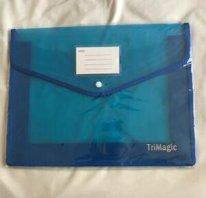 Plastic Folders With Closure And Pockets Trimagic Blue