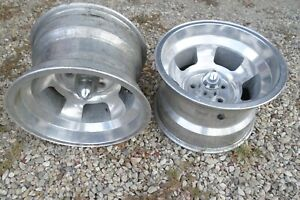 15 X 10 1 2 Super Wide Slotted Aluminum Mag Wheels Gasser 55 Chevy Gm 5 X 4 1 2