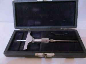 Vintage Brown And Sharpe Small Depth Micrometer W case Machinist Tool