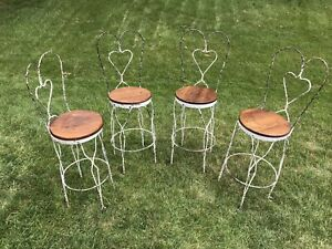 Antique Toledo Ice Cream Parlor Metal Chairs Set 4 Tall