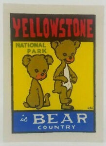 Original Vintage Travel Decal Yellowstone Bear Country Auto Trailer Camping Old