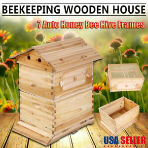 Wooden Beehive House Beekeeping Storage Tool Garden Bee Hive Supplies Equipments