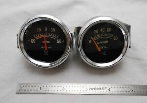 Lot Os 2 Vintage Usa Oil Pressure Amp Gauges Hot Rat Rod Muscle Auto Gauge