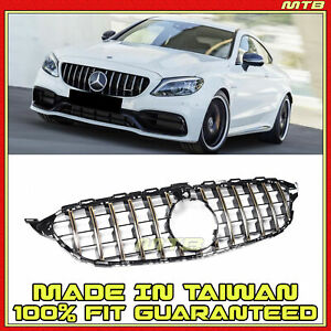 Front Bumper Radiator Upper Grille Gold Trim For Mercedes C Class 15 18 Gt Style
