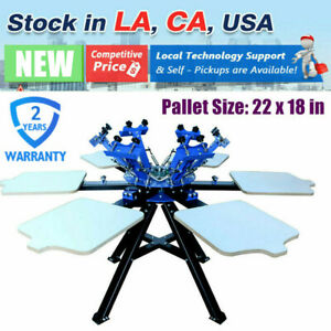 Us 6 Color 6 Station Screen Printing Press Printer Double Rotary Print Equipment