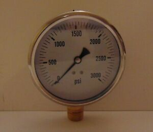 New Hydraulic Liquid Filled Pressure Gauge 0 3000 Psi 4 Face 1 2 Npt Lm
