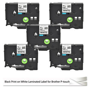 5 Black On White Label Tape Compatible For Brother Tz 231 Tze 231 P touch 26 2ft
