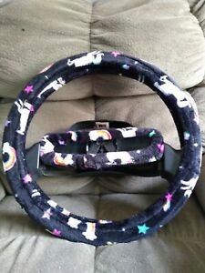 Rainbows And Unicorns On Black Ultra Soft Fleece Steering Wheel Cover Set
