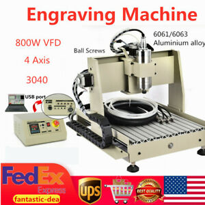 Usb 4 Axis 800w 3040 Cnc Router Wood Pcb Engraving Drilling Milling Machine Usa