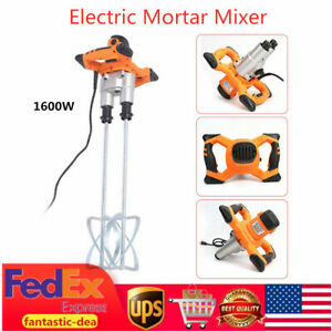 Electric Mortar Mixer Twin Paddle Paint Cement Grout Stirring Mixer 2speed 1600w