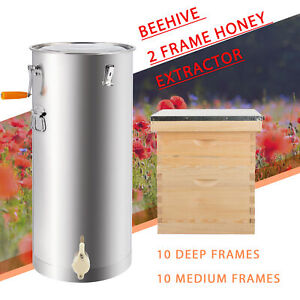 Complete Bee Hive 10 frame 1 Medium Box 1 Deep Box And 2 Frame Honey Extractor