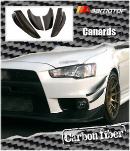 Carbon Fiber Front Bumper Side Canards 4 Pcs Fits Mitsubishi Evolution X Evo 10
