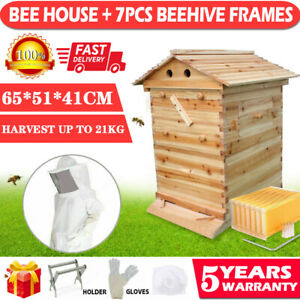 Upgraded Super Beehive Brood Bee House 7 Pcs Free Move Honey Hive Frames Us