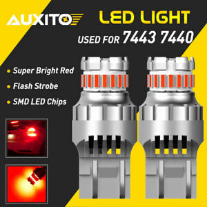 Auxito T20 7440 7443 Red Led Strobe Flash Blinking Brake Tail Light Parking Bulb