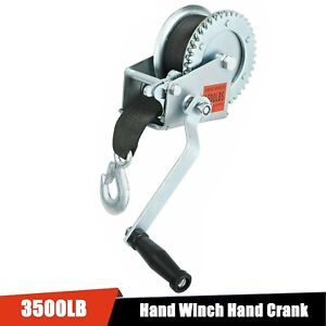 1500lb Manual Trailer Winch And 20 X2 Strap Hand Crank Boat Pull Tow